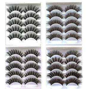5 Pairs 3D False Eyelashes Wispy Cross Long Thick Soft Natural Fake Eye Lashes