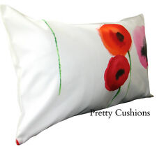 Sanderson Poppies Red & Emerald Bolster Cushion Cover