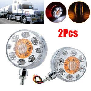 2Pcs Double Side LED Truck Trailer Fender Light Turn Signal Brake Stop DRL Round