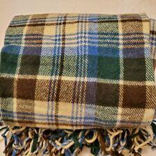 Vtg 80s Pendleton Wool Blanket Woven Pastel Blue Cream Beige Tan Fringe