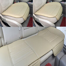 Beige Set Universal Bamboo Charcoal Cushion Pad PU Leather Car Rear Seat Cover