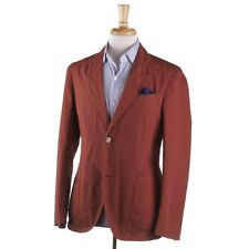 NWT $1425 BOGLIOLI Rust Orange Jacquard Pattern Cotton Suit 38 R (Eu 48)