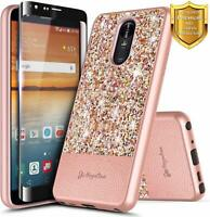 Fit LG Aristo 4+ Plus / K30 2019 Case Glitter Bling Hybrid Cover +Tempered Glass