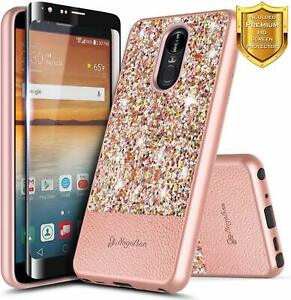 For LG Journey LTE/Neon Plus Case Glitter Bling Cover + Tempered Glass Protector