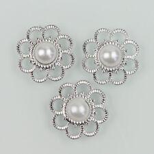 30PCS Sliver Resin Flower Flatback Button Scrapbooking for Phone Wedding Craft