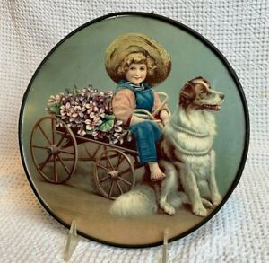 FLUE COVER LOT #65 Victorian Child in Wagon with flowers Dog pulling cart NICE