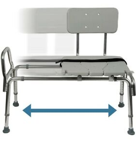 Tub Transfer Bench and Sliding Shower Chair- Adjustable Seat Height & Cut Out