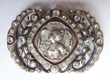 Broche ART NOUVEAU en métal argenté + strass bijou ancien vers 1900