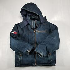 Tommy Hilfiger Jeans DENIM PUFFER Coat XXL Dark wash CUSTOM Flag Patch VTG 90s