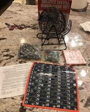 Deluxe Metal Bingo Cage SET Game Kit Cards Balls Complete NEW