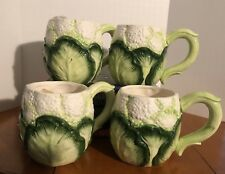 4 Seymour Mann Cauliflower Tea Coffee Cup Hand Painted Pristine 1987 New W Tag