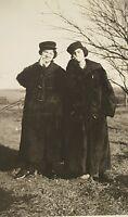 Vintage Antique Black White Photo 2 ladies fur coats smoking cigarettes Enid, OK