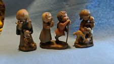 "Anri Lot Of 3 Figurine Figures Wood Carving 3"""