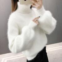 Women's Winter Angora Faux Cashmere Warm Knit Sweater Fluffy Fuzzy Plush Jumpers