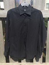 Hugo Boss Mens Striped Cotton Long Sleeve Shirt Medium Black