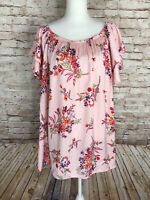 Terra & Sky Womens 2X 20-22W Pastel Pink Floral Peasant Blouse Ruffle Sleeve EUC