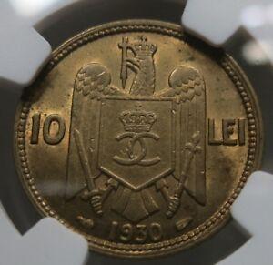 ROMANIA 10 lei 1930 (a) Paris NGC MS 63 UNC