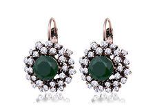 Green Vintage Rhinestone Crystal Round  Lever Back Earrings Great Gift UK Seller