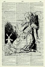 ORIGINAL Alice in Wonderland and Tunnel Vintage Dictionary Page Art Print 233D