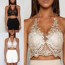 Women Beauty Floral Lace Triangle Bralette Halter Bra Crop Top Lingerie vest