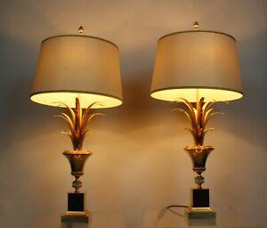 2x Boulanger Table Lamp 70s Palm Leafs Lampe 70er Design Vintage Palmen Optik