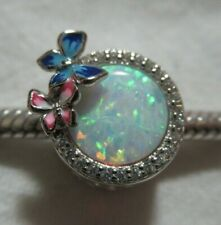 UNBRANDED 925 SILVER OCTOBER BIRTHSTONE OPAL~ESQUES DRUM SLIDE EUROPE CHARM BEAD