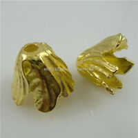 11774 10PCS Alloy Gold Tone Nice Flower Leaf Spacer Bead End Cap Charm Bead Caps