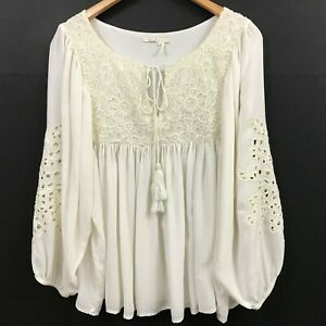 Anthropologie Floreat Ivory Embroidered Eyelet Blouse Tassel Tie Peasant Top L
