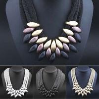 Am _ Damen Ethnisch Geflochten Retro Statement Choker Halskette Anhänger Jewelr