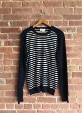 AMI Paris Mens 100% Cashmere Sweater Size Medium, Navy Blue/White Stripes Italy