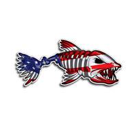 Funny USA Bone Fish American Flag Car Accessory Bumper Window Decal Sticker New