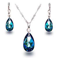 Schmuckset 925 Silber mit Swarovski® Kristall Tropfen Bermuda Blue blau