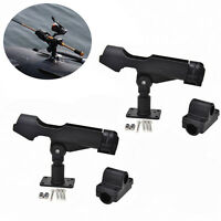 2PC Adjustable Side Rail Mount For Kayak Boat Fishing Pole Rod Holder Tackle Kit