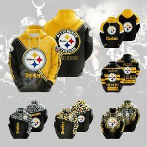 Pittsburgh Steelers Hoodie 3D Print Fan Pullover Sweatshirt Casual Hooded Jacket