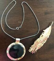 Wunderschönes Schmuck-Set 2tlg Silber Kette 925 Amulett - Haarspange goldfarbig