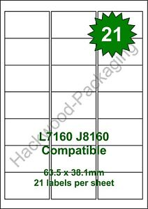 21 Labels per Sheet x 100 Sheets White Matt Copier Inkjet Laser