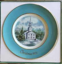 Avon Christmas 1974 Country Church Second Edition Plate by Enoch Wedgwood in box