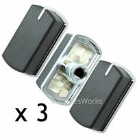 3 x Switch Knob for BELLING FSG60D FSG60DOP Hob Oven Black Silver 083240900