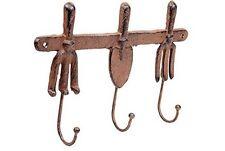 Cast Iron Decorative Garden Tool Tools Fork & Trowel Hook Set 3 Coat Hook NEW