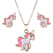 Pink Horse Unicorn Jewelry Set Animal Decorations Earrings+Necklaces Hot Sale