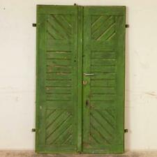 Pair, Antique Original Green Painted Doors Great Sliding Doors