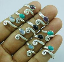 10 pcs Adjustable Toe Ring Lot-189 Beautiful Mix Gemstone 925 Silver Overlay