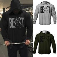 Men Fitness Gym Big Beast Print Cotton Bodybuilding Workout Hoodies Sweatshirt