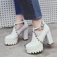 Women Block High Heels Rivet Sexy Shoes Platform Buckle Belt Fashion Party Pumps