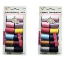 24 Pcs Polyester sewing Thread, Mix Colors, 15 Yards/Card