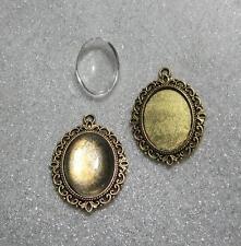 2 gold tone pendentif cadre photo ovale cadres dômes en verre 18 x 25 mm cabochons