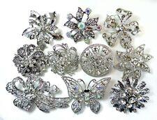 24 Brooches Clear Bling Rhinestone Silver BROOCH PIN Wedding