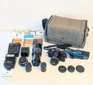 Minolta X-700 SLR Camera w/ Extra Lenses, Flash, Case, & Manual - Untested As-Is
