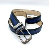Marco Valentino Leather Belt Gunmetal Blue Black Buckle Made in Italy Size 44