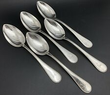 Hille 800 Silver Set of 5 BEADED & Monogrammed Solid Serving Spoons (RF1068)